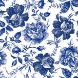 与玫瑰花的无缝的设计 童话森林手拉的葡萄酒植物的样式线图表 时尚纺织品设计I 向量例证