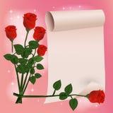 与玫瑰花的生日快乐卡片 向量例证