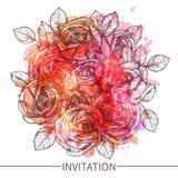 与玫瑰花的邀请 免版税图库摄影