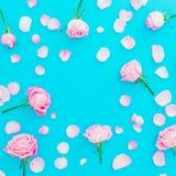 与玫瑰芽和瓣的花卉框架在蓝色背景 平的位置,顶视图 桃红色玫瑰花纹理 免版税库存图片