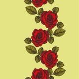 与玫瑰装饰品的无缝的背景 也corel凹道例证向量 jp 库存照片