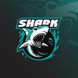 与现代例证概念样式的恼怒的鲨鱼吉祥人商标设计传染媒介徽章、象征和T恤杉打印的 恼怒的鲨鱼 库存例证