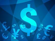 与现代创造性的设计的货币抽象背景与欧元美元日元磅金钱 库存例证