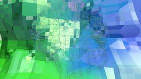与现代梯度颜色的低多抽象背景 与栅格的蓝绿色3d表面在空气11 免版税库存照片