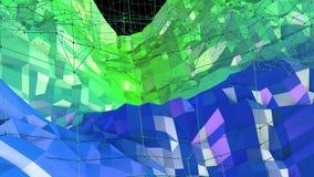 与现代梯度颜色的低多抽象背景 蓝绿色3d表面20 免版税库存图片