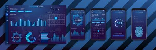 与现代设计每周和每年统计图表的流动app infographic模板 向量例证