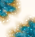 与现实冷杉枝杈的圣诞灯背景 库存例证