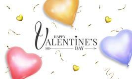 与现实心形淡色氦气气球和金五彩纸屑的情人节横幅 向量例证