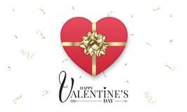 与现实心形礼物盒的情人节横幅有发光的金金属弓和五彩纸屑的 库存例证