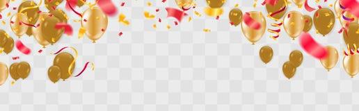 与现实红色和黄色飞行的气球、蛇纹石和五彩纸屑和生日快乐文本的欢乐事件横幅 向量 库存例证
