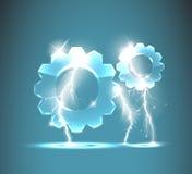 与现实闪电的玻璃齿轮象 向量例证
