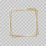 与现实阴影的纸被削减的金框架 两个在别的金黄倾斜的方形的框架谎言一 传染媒介卡片 库存例证