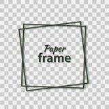 与现实阴影的纸裁减黑色框架 两个在别的黑暗的倾斜的方形的框架谎言一 传染媒介卡片 向量例证