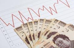 与现金的股市图 免版税库存照片