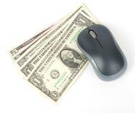 与现金的计算机老鼠 库存照片