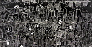 与现代东京的一个图表图象的单色盘区 免版税库存照片