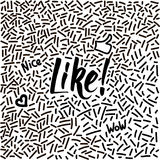 与现代书法词的线艺术手拉的乱画喜欢! 图库摄影