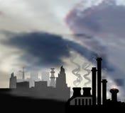 与现代全景城市和化学制品工厂的黑暗的风景前景的 库存例证
