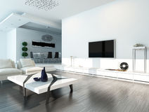 与现代家具的白色客厅内部 免版税库存图片