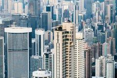 与现代摩天大楼的抽象未来派都市风景 香港 免版税库存照片