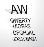 与现代长的屏蔽效应的经典字母表 免版税图库摄影