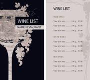 与玻璃、葡萄树和价格表的酒类一览表 向量例证