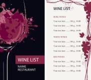 与玻璃、葡萄树和价格表的酒类一览表 库存例证