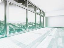 与玻璃Windows的建筑大厦内部 图库摄影