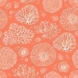 与珊瑚的无缝的样式 库存例证