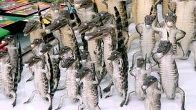 与珍珠的一条小被充塞的鳄鱼在他的嘴,在MUI ne,越南的一个纪念品店 免版税库存照片