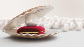 与珍珠的贝壳里面在红色天鹅绒枕头 宝石,妇女的首饰,珍珠层小珠 对您的横幅,海报,商标 向量例证