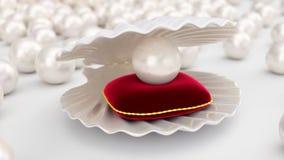 与珍珠的贝壳里面在红色天鹅绒枕头 宝石,妇女的首饰,珍珠层小珠 对您的横幅,海报,商标 皇族释放例证
