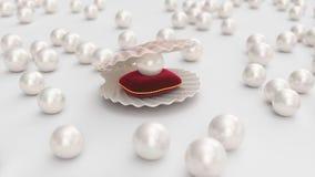 与珍珠的贝壳里面在红色天鹅绒枕头 宝石,妇女的首饰,珍珠层小珠 对您的横幅,海报,商标 库存例证
