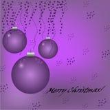 与球、星和文本的圣诞节紫罗兰色背景 免版税库存图片