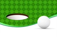 与球、绿色样式和孔的抽象高尔夫球背景 向量例证