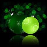 与球和反射的圣诞卡 免版税库存图片