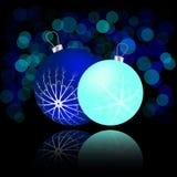 与球和反射的圣诞卡 库存照片