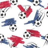 与球和旗子颜色的足球无缝的样式 库存图片
