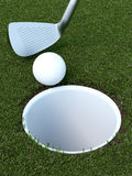 与球和轻击棒的高尔夫球 免版税库存图片