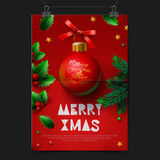 与球圣诞节装饰的圣诞快乐欢乐贺卡 免版税库存照片