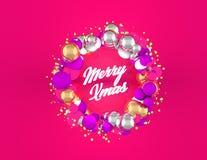 与球形和桃红色背景的圣诞节花圈 皇族释放例证