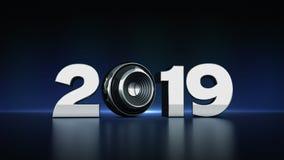 2019与球形报告人3D的文本 免版税库存照片