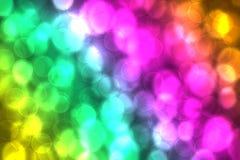 与球形样式和defocused bokeh光的摘要新生动的五颜六色的幻想彩虹背景纹理 美丽现代 皇族释放例证