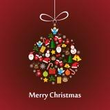 与球模板的圣诞卡 免版税库存图片