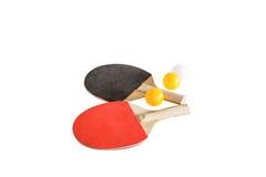 与球的乒乓球棒 免版税库存照片