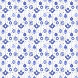 与球的圣诞节无缝的样式在蓝色颜色 库存照片