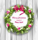 与球的圣诞节花圈,新年和 向量例证