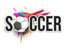 与球的时髦的文本足球在五颜六色的背景 皇族释放例证