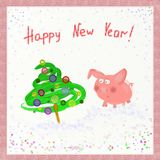 与球的猪和圣诞树 新年好 2019年的标志 东部占星 2007个看板卡招呼的新年好 免版税库存照片