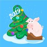 与球的猪和圣诞树 新年好 2019年的标志 东部占星 2007个看板卡招呼的新年好 库存照片